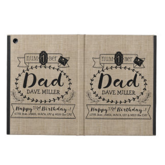 Make Your Own Number 1 Dad Birthday Cute Monogram iPad Air Cases