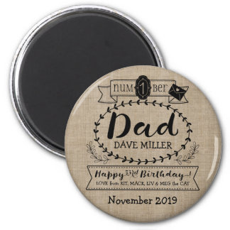 Make Your Own Number 1 Dad Birthday Cute Monogram Magnet
