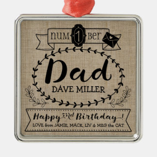 Make Your Own Number 1 Dad Birthday Cute Monogram Metal Ornament