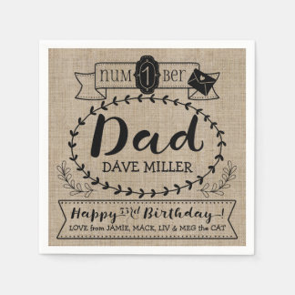 Make Your Own Number 1 Dad Birthday Cute Monogram Napkin