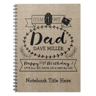 Make Your Own Number 1 Dad Birthday Cute Monogram Notebooks
