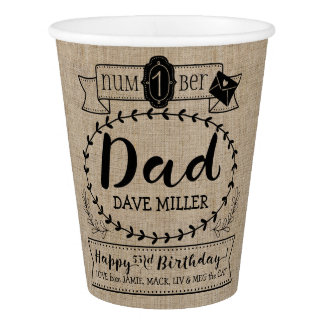 Make Your Own Number 1 Dad Birthday Cute Monogram Paper Cup