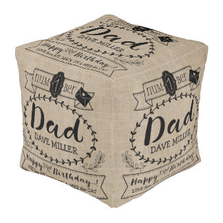 Make Your Own Number 1 Dad Birthday Cute Monogram Pouf