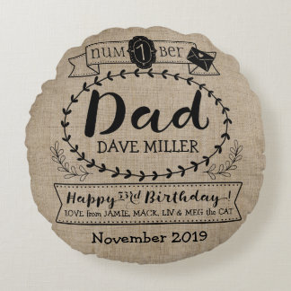Make Your Own Number 1 Dad Birthday Cute Monogram Round Pillow