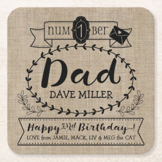 Make Your Own Number 1 Dad Birthday Cute Monogram Square Paper Coaster