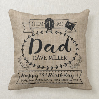 Make Your Own Number 1 Dad Birthday Cute Monogram Throw Pillow