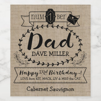 Make Your Own Number 1 Dad Birthday Cute Monogram Wine Label