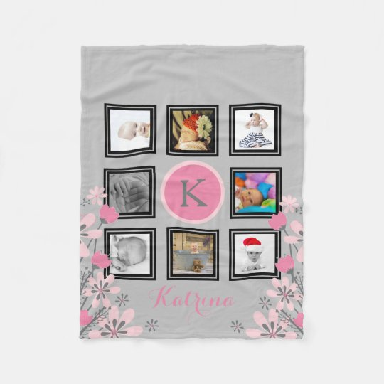 Make Your Own Personalized | 8 Photo Collage Pink Fleece Blanket