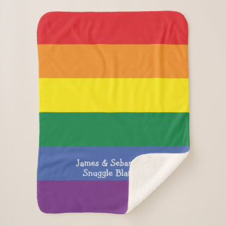 Make Your Own Personalized Gay Pride Rainbow Sherpa Blanket