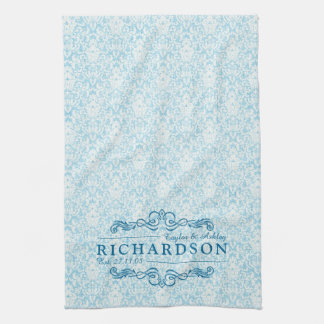 Make Your Own Sky Blue Damask Anniversary Monogram Hand Towels