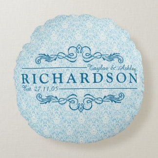 Make Your Own Sky Blue Damask Anniversary Monogram Round Pillow