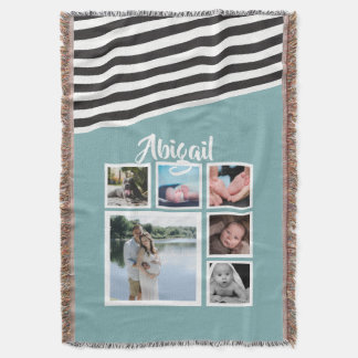 Make Your Own Teal Striped Unique Personalized Throw Blanket