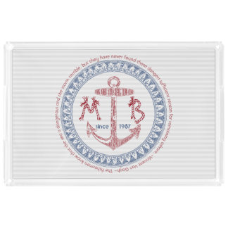 Make Your Own Vintage Anchor Nautical Monogram Acrylic Tray