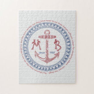 Make Your Own Vintage Anchor Nautical Monogram Jigsaw Puzzle