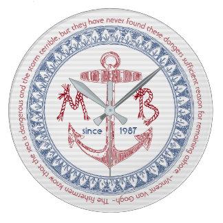 Make Your Own Vintage Anchor Nautical Monogram Large Clock