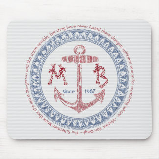 Make Your Own Vintage Anchor Nautical Monogram Mouse Pad