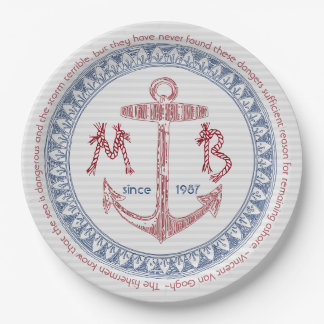 Make Your Own Vintage Anchor Nautical Monogram Paper Plate