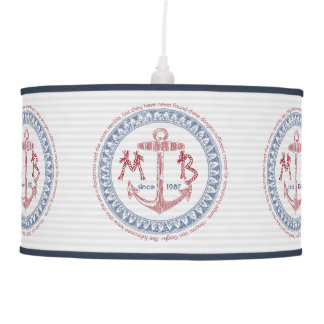 Make Your Own Vintage Anchor Nautical Monogram Pendant Lamp