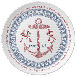 Make Your Own Vintage Anchor Nautical Monogram Plate