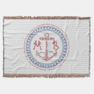 Make Your Own Vintage Anchor Nautical Monogram Throw Blanket