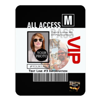 """Make Your Own VIP Pass 8 ways to Personalize 4.25"""" X 5.5"""" Invitation Card"""