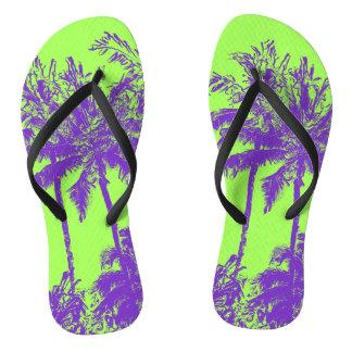 Makena Beach Hawaiian Sketchy Palms Flip Flops