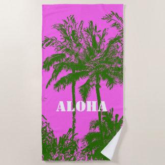 Makena Beach Hawaiian Sketchy Palms Fuchsia Beach Towel