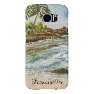 Makena Cove Hawaii Beach Fine Art Watercolor Samsung Galaxy S6 Cases