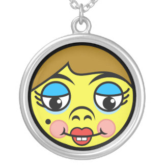 Makeover Face Silver Plated Necklace