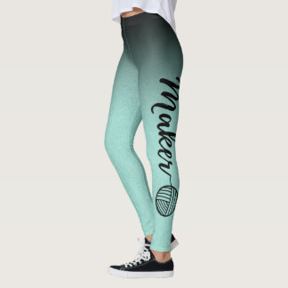 Maker • Black & Mint Ombre Texture Yarn & Crafts Leggings