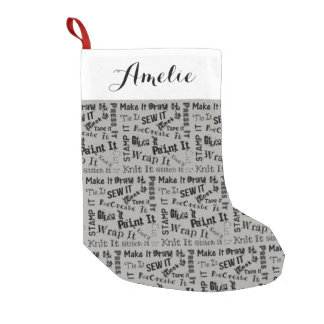 Maker Crafts Typography Print + Name Small Christmas Stocking