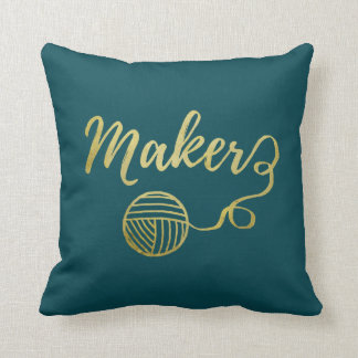 Maker • Yarn Crafts Typography Faux Gold Two Tone Throw Pillow
