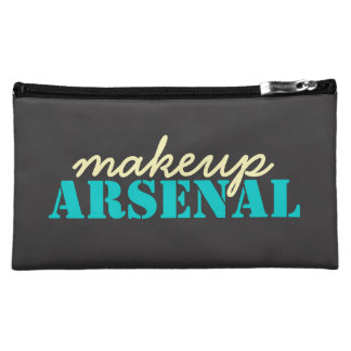 Makeup Arsenal: Gear Bag Beauty Pros- teal, yellow Cosmetic Bag