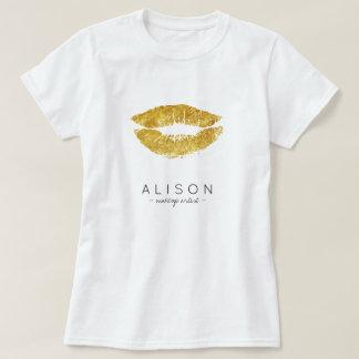 Makeup artist and salon name gold lips script T-Shirt