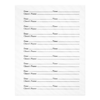 Makeup Artist Appointment Sheets