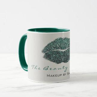 Makeup Artist Beauty Kiss Lip Teal Gray Glitter Mug