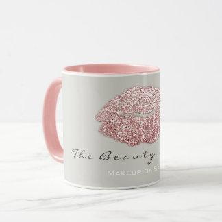 Makeup Artist Beauty Kiss Lips Blush Gray Glitter Mug