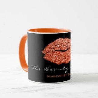 Makeup Artist Beauty Kiss Lips Coral Black Glitter Mug