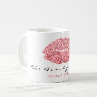 Makeup Artist Beauty Kiss Lips Pink White Glitter Coffee Mug