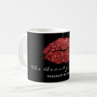 Makeup Artist Beauty Kiss Lips Red Black Glitter Coffee Mug