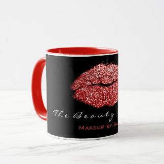 Makeup Artist Beauty Kiss Lips Red Black Glitter Mug