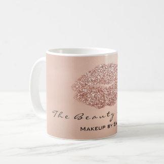 Makeup Artist Beauty Kiss Lips Rose Gold Glitter Coffee Mug