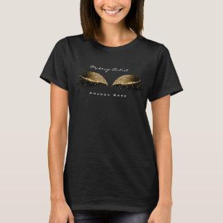 Makeup Artist Beauty Lashes Gold Black Glitter T-Shirt