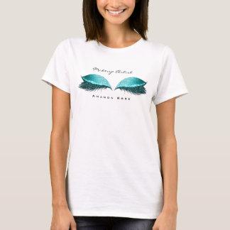 Makeup Artist Beauty Lashes Ocean Blue Glitter T-Shirt