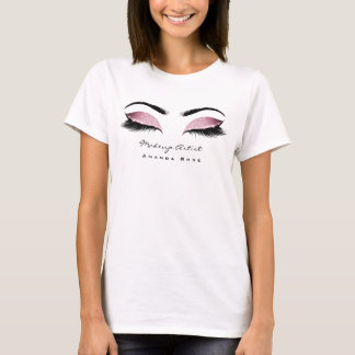 Makeup Artist Beauty Lashes Pink Blush Glitter T-Shirt