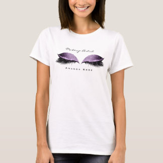 Makeup Artist Beauty Lashes Violet Grape Glitter T-Shirt