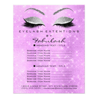 Makeup Artist Beauty Salon Silver Glitter Lavanda2 Flyer