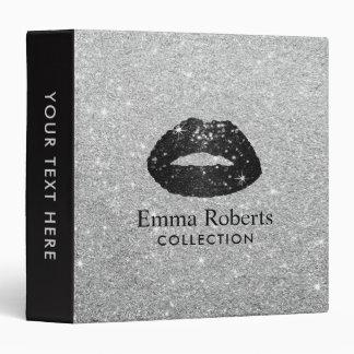 Makeup Artist Black Glitter Lips Modern Silver Vinyl Binders