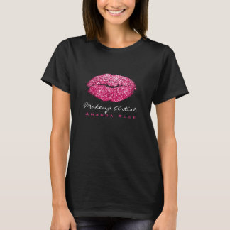 Makeup Artist Black Kiss Lips Fuchsia Pink Glitter T-Shirt