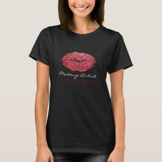 Makeup Artist Black Kiss Lips Red Rose Glitter T-Shirt
